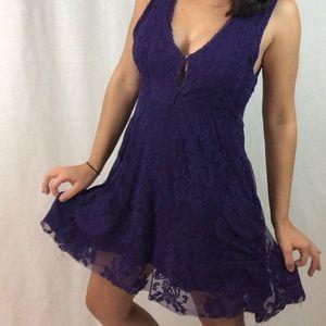 Free People | Purple Lace Dress Flare Sheer back